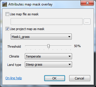 The 'attributes map mask overlay' window