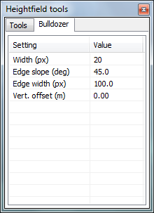 The new settings pane for the heightfield tool window.