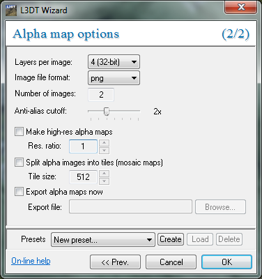 The 'alpha map options' wizard.
