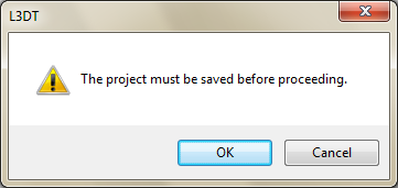 The 'please save project' message.