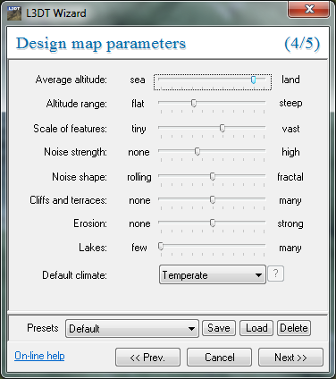 The 'design map parameters' wizard.