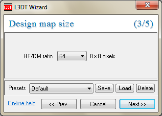 The 'design map size' wizard.