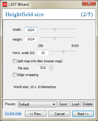 The 'heightfield size' wizard.