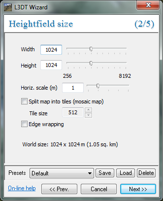 The' heightfield size' wizard, with recommended settings.