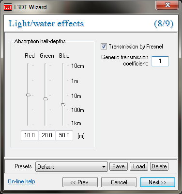 The light map water effects wizard.