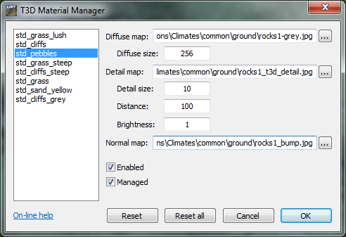 The 'T3D Material Manager' window.