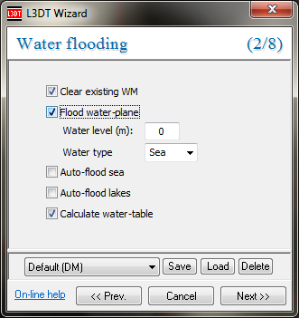 The water map flood wizard.